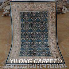 Yilong 3.5'x5.2' Persian Handmade Silk Rugs Blue Parlor Hand Knotted Carpet C01A