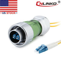 Fiber Optic Connector Plug Outdoor Waterproof IP67 w/10ft Cable Single Mode LC