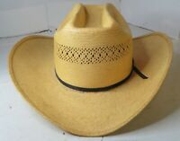 Vintage Western Hat M.L. Leddy & Sons Straw Long Oval 6 7/8 Used Cowboy Tan GUC