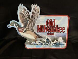 "1994 Old Milwaukee Beer metal sign w/ Mallard Duck - 24"" wide by 18"" high 006"