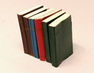 DOLL HOUSE MINIATURE SET OF SIX SOFT COVER BOOKS W/ COLORED COVERS & BLANK PAGES