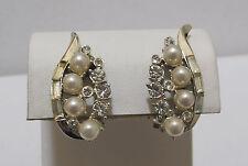 Graceful Vtg Silvertone, Loaded Faux Pearl & Rhinestone Clip Earrings Mint