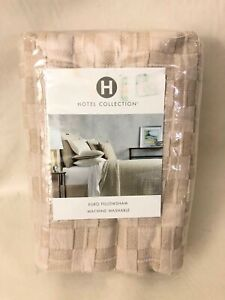 NEW! Hotel Collection Beige Diamond Embroidery Cotton EURO Pillow Sham