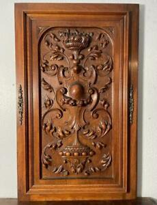 """31"""" Tall French Antique Renaissance Revival Deeply Carved Walnut WoodPanel/Door"""