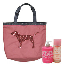 Victoria's Secret Pink Gift Set of 3 Warm Cozy Body Mist Lotion Bling Tote New