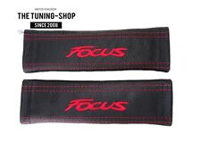 "2x Seat Belt Covers Pads Leather ""Focus "" Embroidery for Ford"