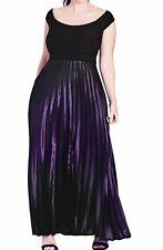 City Chic Plus Size L Black Purple Pleated Passion Ombre Maxi Dress