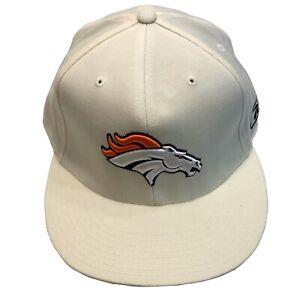 Denver Broncos NFL Reebok Official Sideline Off White 7 7/8 Fitted Cap Hat $30