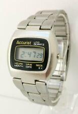 Vintage 1975 Accurist LCD Gents Retro Digital Watch & Strap Hitachi 52022 Movt
