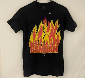 *NEW* BAM BAM BIGELOW Flames Logo WWE Wrestling Legends Black T-Shirt Mens S