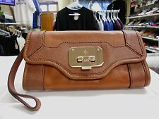 COLE HAAN LEATHER ISABELLE CLUTCH WALLET BROWN VINTAGE VALISE II NWT