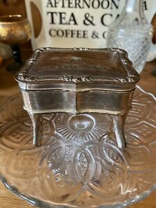 Vintage  Trinket Box  Metal  Adorable Collectable Hinged Quirky Design Stamped