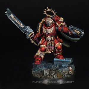 Warhammer 40K Blood Angels Lieutenant with sawsword, NMM style of painting