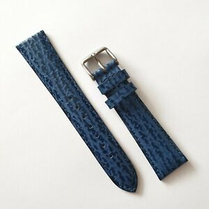 GENUINE  ROTARY 20MM BLUE SHARK SKIN STYLE LEATHER WATCH STRAP ,FREE SPRING BARS