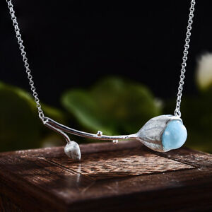Exquisite Solid 925 Silver Lotus Bud Natural Stone Necklace for Women Jewelry
