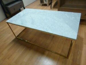 New Large Italian Solid Marble & Gold Coffee Table *Furniture Village*