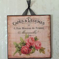 Vintage Paris Shabby Rose Wall Decor Sign Plaque French Country Chic