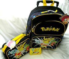 "Black Pokemon Pikachu 16"" Rolling Backpack,lunchbox, and random Pokemon Wallet"