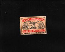 VINTAGE Match Matchbox Label DEEP RICH COLOR Vulcan Protection Tidaholm B1