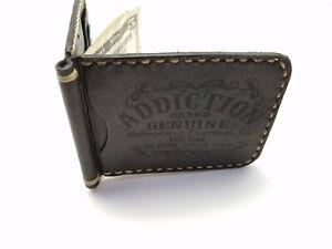 Leather biker trucker wallet motorcycle money clip card holder white Stitch
