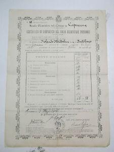 PAGELLA SCUOLA ELEMENTARE DI CAPRAUNA CUNEO 1908 10BIS-72