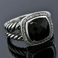 David Yurman Jewelry Sterling Silver 11mm Black Onyx Albion Diamond Ring Sz 8.5