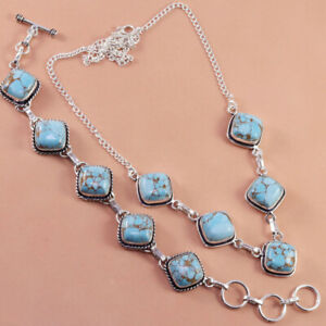 Blue Copper Turquoise Gemstone 925 Silver Jewelry Necklace ,Bracelet Set 8-16''