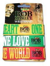 Bob Marley One Love One Heart 3 Pc Colorful Rubber Wristband Set New Official