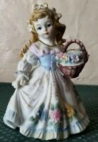 Vintage Lefton Girl Carrying A Basket Of Flowers Floral Figurine KW125C