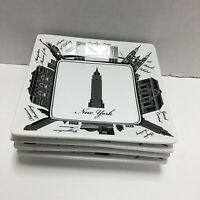 "222 Fifth City  New York City NYC Appetizer Plates Square 5.5"" Set of 4 New"