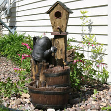 "Sunnydaze Birdhouse & Watering Can Outdoor Water Fountain 31"" Rustic Feature"