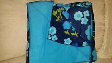 """Light Blue&Teal Flowers/Teal Back Throw/Blanket/ 68""""74' $45.00 ea.1 available"""
