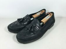 Giorgio Brutini Naples Mens 12 D Black Woven Leather Tassel Kiltie Dress Loafers