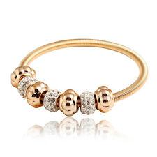 Elastic Adjustable Gold Tone CZ Rhinestones Charms Balls Bracelet Bangle BB206
