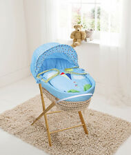High Flyer Blue Palm Moses  Basket & Folding Stand