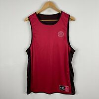 NBL Basketball Jersey Mens Large Red Black Sleeveless Round Neck Reversible