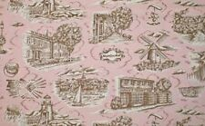 Town Toiles NAUTICAL Fabric NANTUCKET Cape Cod Lighthouse Sailboat on Pink BTY