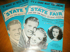 2 PIECES SHEET MUSIC from STATE FAIR  It's a Grand Night  It Might as Well be