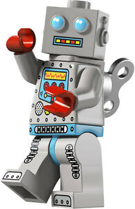 Lego minifig series 6 CLOCKWORK ROBOT tin retro toy key