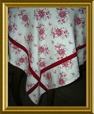 BRAND NEW~HORCHOW CATALOGUE~TOILE POINSETTIA TABLECLOTH VELVET EDGE~HOLIDAY!!