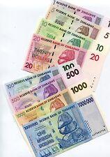 Zimbabwe Scarce 2007/8 German Print 8 Note Inflation Set $1 -1 Million $ Dollars