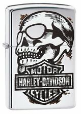 Zippo HD Harley Davidson Scull Shield High Polish Chrome Lighter 29281 ***NEW***