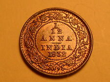 "1932  BEAUTIFUL INDIA 1/12 ANNA ""GEORGE V KING"" ""EMPEROR"" RED BROWN COIN!!"
