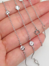 925 Sterling Silver Cz Station Necklace 4mm 16-18""