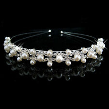 Party Bridal Bridesmaid Flower Girl Double Faux Pearl Crown Headband Tiara UK