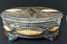 OLD TIBETAN JEWELLERY BOX set with bone (bovine) turquoise & red coral.