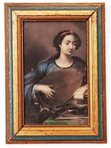 Vintage Italian Etched Painted Incolay Woman Lute Wall Hanging Florentine Frame