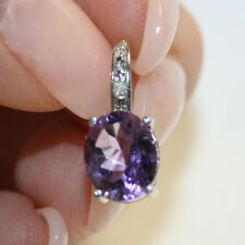 6ct Genuine Oval Amethyst Diamond Leverback Earring 14k White Gold over 925 SS