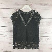 Zara Womens Black Lace Overlay Short Sleeve Vneck Top Size Large UK 14