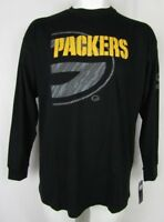 Green Bay Packers NFL Team Apparel Men's Black Reflective Long Sleeve T-Shirt